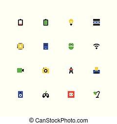 set, colorito, icone, materiale, -, disegno, concetti, tecnologia