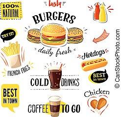 set, colorito, illustrazione, cibo, eps10., etichette, isolato, digiuno, vettore, white., cartone animato