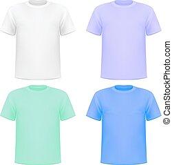 set, colorito, illustrazione, lavorato maglia, camicie, fondo, bianco