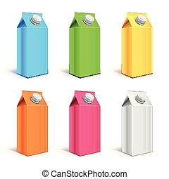 set, colorito, imballaggio, realistico, vettore, yogurt, cartone, 3d