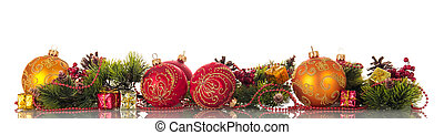 set, colorito, isolato, albero, luminoso, ornamenti, natale bianco