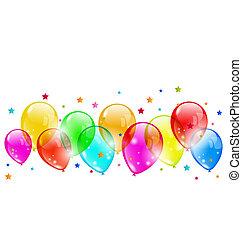 set, colorito, isolato, fondo, bianco, baluginante, palloni
