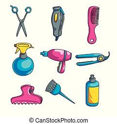 set, colorito, isolato, fondo, bianco, cartone animato, lavoro parrucchiere