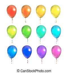 set, colorito, isolato, luminoso bianco, palloni