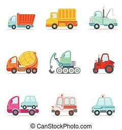 set, colorito, lavorativo, icone, automobili, servizio, pubblico, costruzione, giocattolo, cartone animato, strada