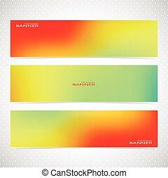 set, colorito, moderno, illustrazione, vettore, bandiere orizzontali
