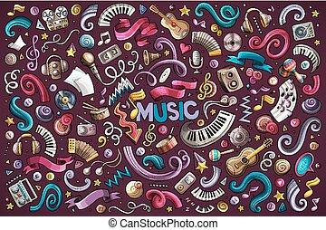 set, colorito, oggetti, mano, vettore, musica, disegnato, doodles, cartone animato
