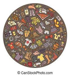 set, colorito, oggetti, scarabocchiare, mano, vettore, disegnato, cartone animato, vestiti