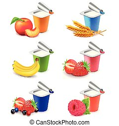 set, colorito, realistico, vettore, frutte, yogurt, campanelle, 3d