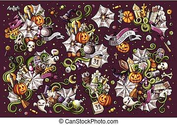 set, colorito, scarabocchiare, halloween, mano, vettore,...