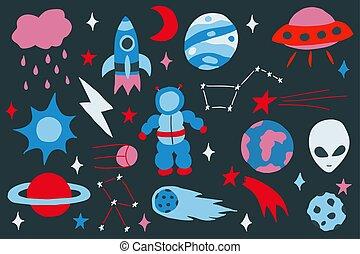 set, colorito, scarabocchiare, mano, vettore, disegnato, cosmo