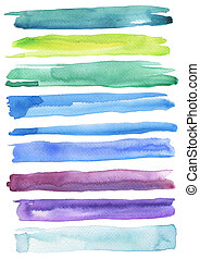 set, colorito, strokes., isolato, spazzola watercolor, white.