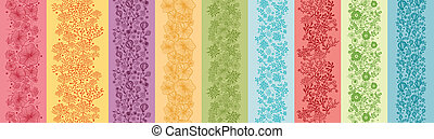 set, colorito, verticale, seamless, modelli, nove, profili di fodera, fiori