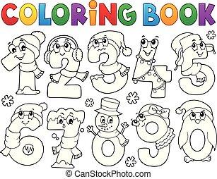 set, coloritura, inverno, numeri, libro, 1