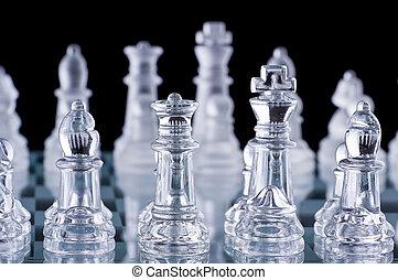 set, colpo, macro, contro, vetro, nero, scacchi, fondo