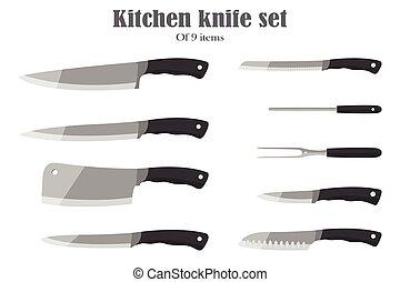 set, coltelli, illustration., set., coltelleria, vettore, knives., o, cucina