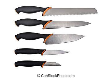 set, coltelli, isolato, bianco