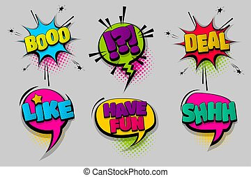 Set comic text speech bubble pop art