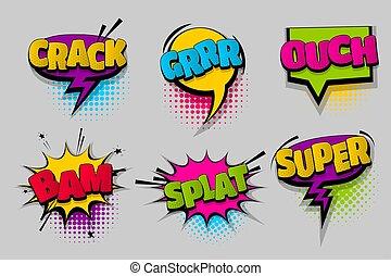 Set comic text speech bubble pop art