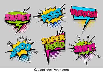 Set comic text speech bubble pop art - sweet woo shit super...