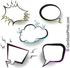 set, comico, vettore, discorso, retro, bolle, bianco