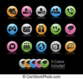 set, communicatie, reeks, -, gelcolor, sociaal, pictogram