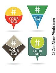 set, communicatie, teken., hashtag
