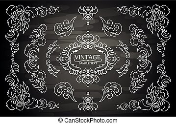 set, communie, frame, vector, ontwerp, floral, versieringen