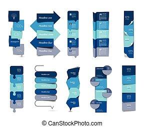 set, communie, verticaal, charts., groot, stap, banieren, infographics, schema's, tafels
