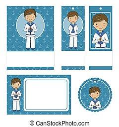 Set communion card for boy