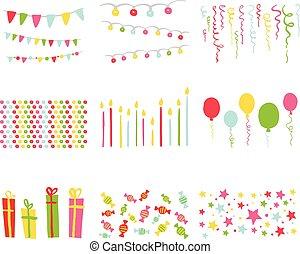 set, compleanno, elementi, disegno, festa, album