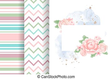 Set composition of peonies and geometric patterns