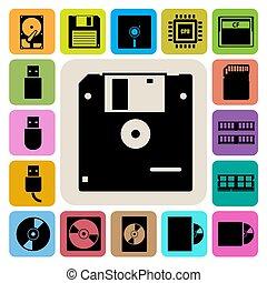 set., computador, armazenamento, ícones