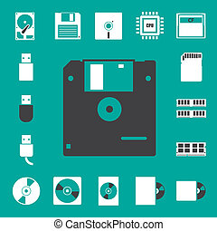 set., computadora, almacenamiento, iconos