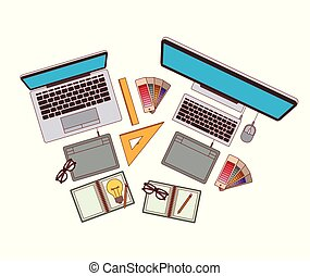 set computer and laptop with elements graphic design on white background