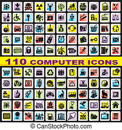 set computer icons - set of 110 vector computer icons for...