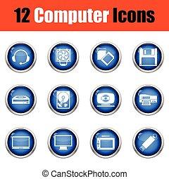 set, computer, icons.