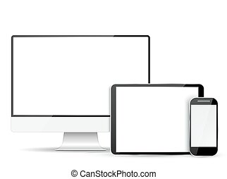 Set  computer monitor, tablet and mobile phone