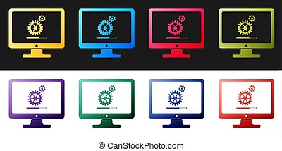 Set Computer monitor update process with gear progress and loading bar icon isolated on black and white background. Adjusting, setting, maintenance, repair. Vector
