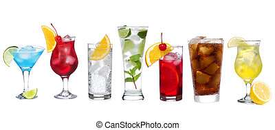 set, con, differente, cocktail