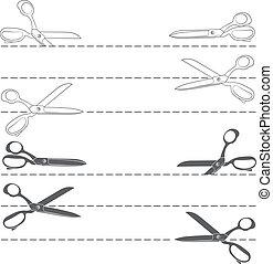 set, con, linea, taglio, con, forbici