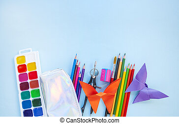 set, concept., back, school, stationery.