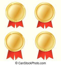 set, concept., vincitore, gold., premio, isolato, fondo., vettore, posto, illustrazione, bianco, medaglie, primo