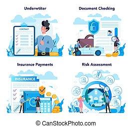 set., concepto, seguro, underwriter, financiero, caso, ...