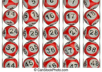 set, concetto, lotteria, rosso, palle