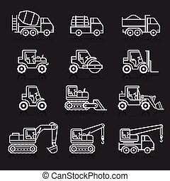 set., construção, caminhão, ícone