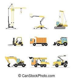 set., construction, camions