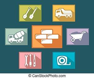 set construction icons flat design