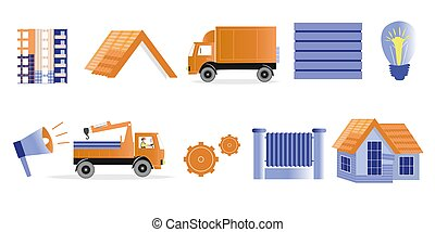 Set construction theme. Illustrations of unfinished building and houses, trucks, building materials, lamp and horn. Vector set for design on the theme of construction