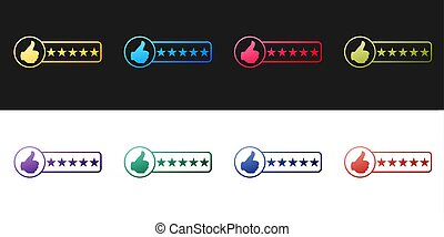 Set Consumer or customer product rating icon isolated on black and white background. Vector.